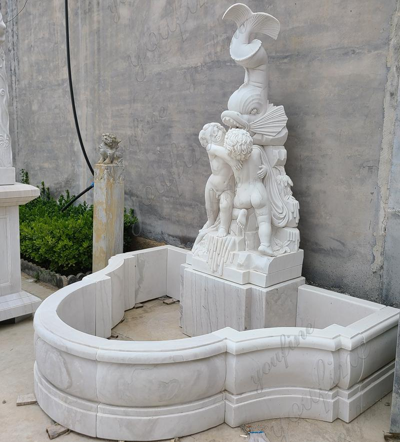 Outdoor Garden Marble Water Fountain with Figure and Fish Design Details