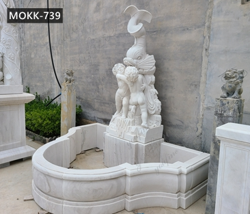 Outdoor Garden Marble Water Fountain with Figure and Fish Design Supplier MOKK-739