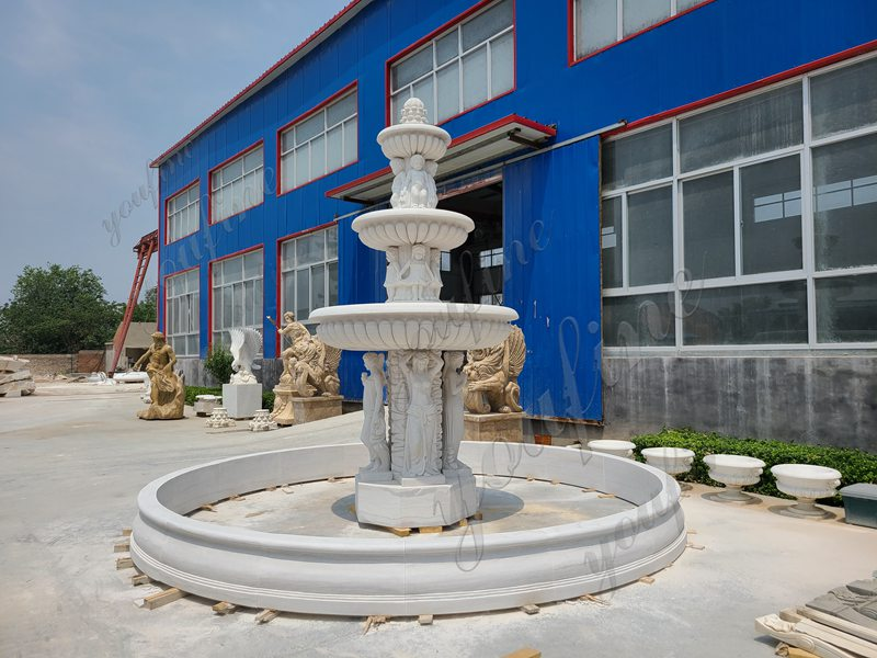 3-Tiered Large Outdoor Marble Lady Fountain with Child Design for Sale Details