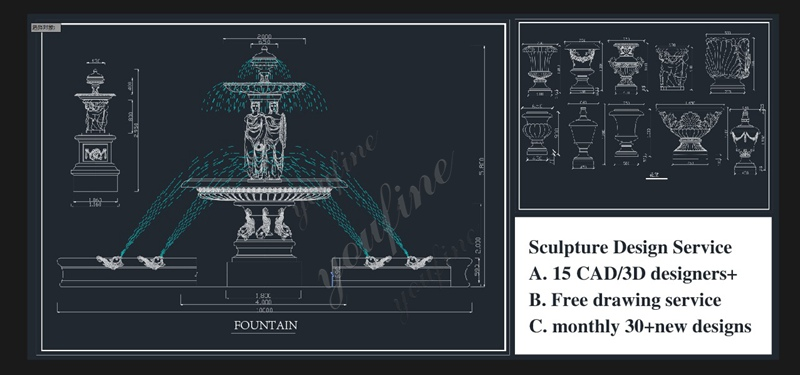 3-Tiered Large Outdoor Marble Lady Fountain with Child Design for Sale Installation Guidance