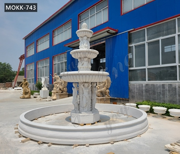 3-Tiered Large Outdoor Marble Lady Fountain with Child Design for Sale MOKK-743