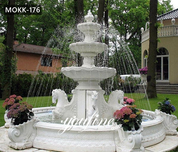 Large Outdoor Tiered Marble Horse Water Fountain for Sale MOKK-176