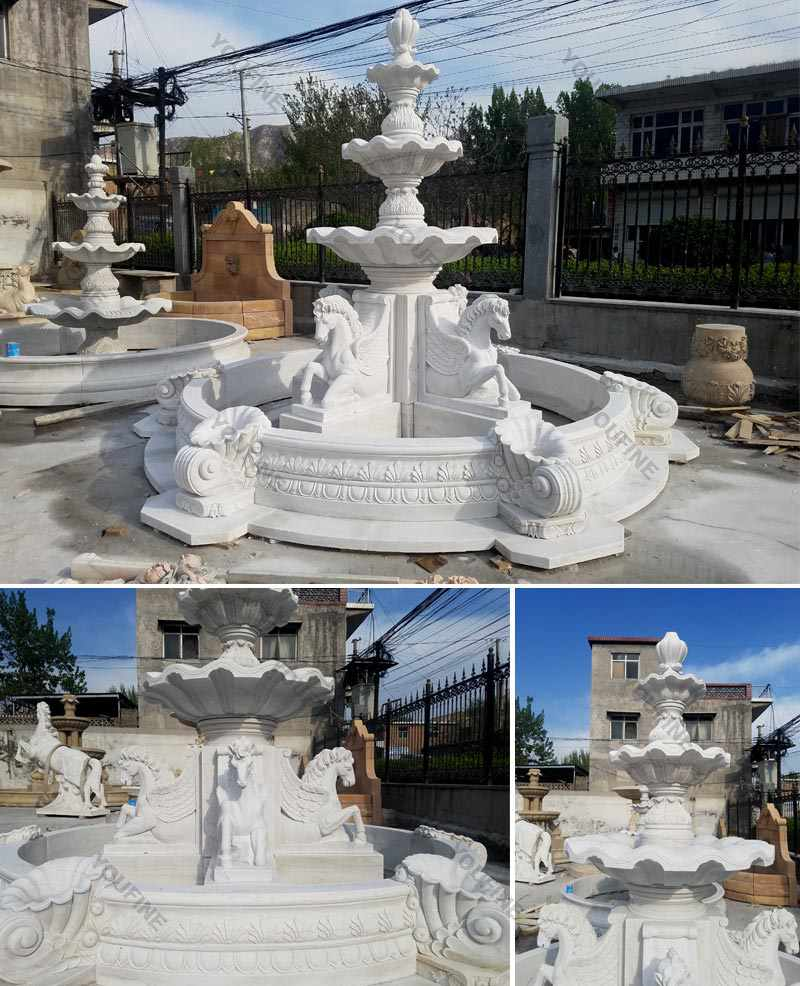 Large Outdoor Tiered Marble Horse Water Fountain for Sale MOKK-176 Details