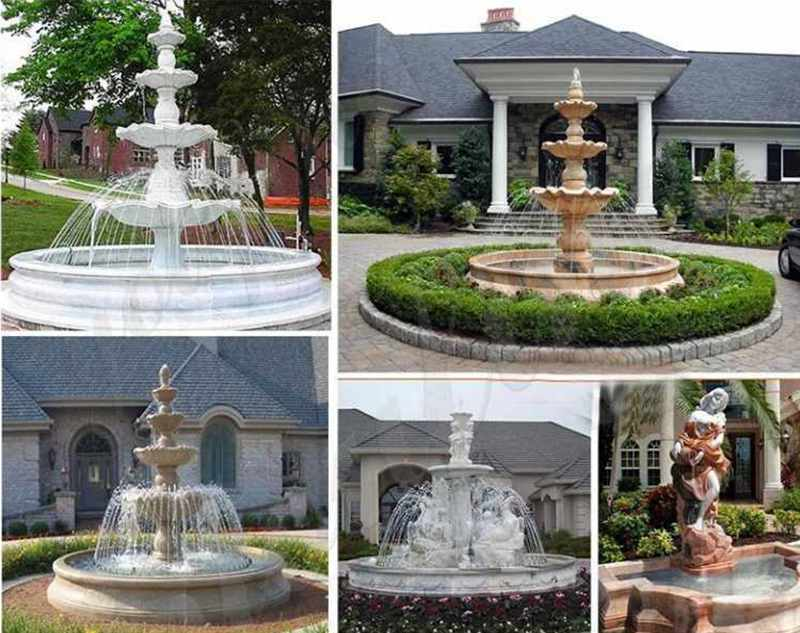 Large Outdoor Tiered Marble Horse Water Fountain for Sale More Designs