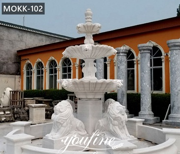 Large Outdoor Tiered Marble Lion Water Fountain for Sale MOKK-102