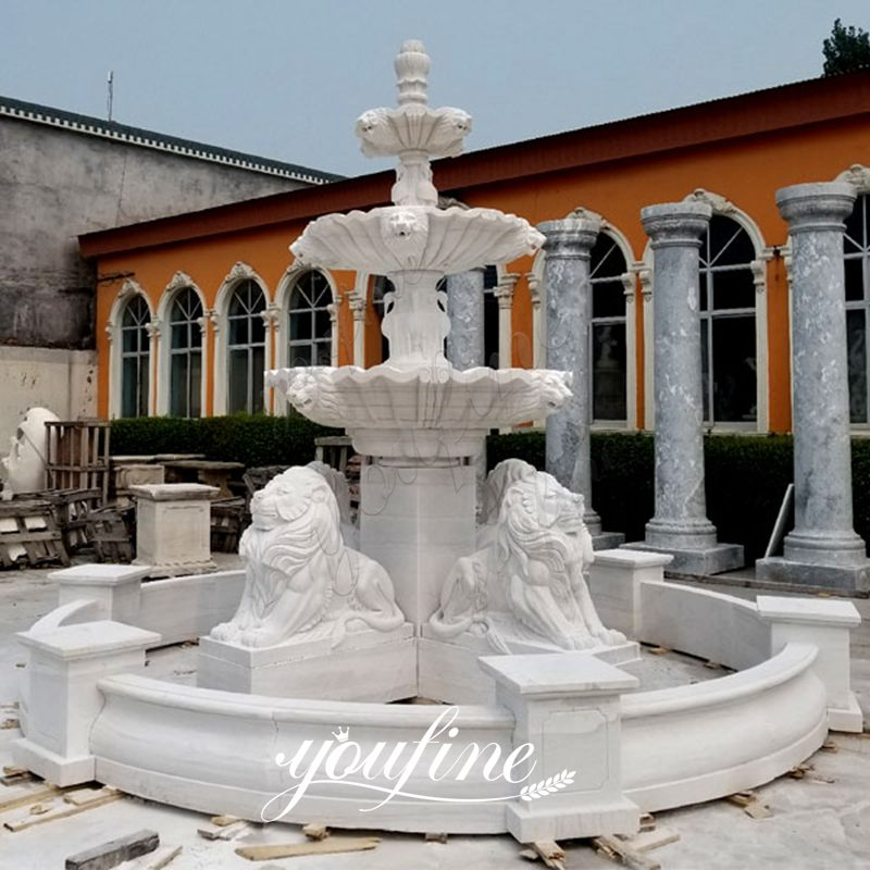 Large Outdoor Tiered Marble Lion Water Fountain for Sale MOKK-102 Details