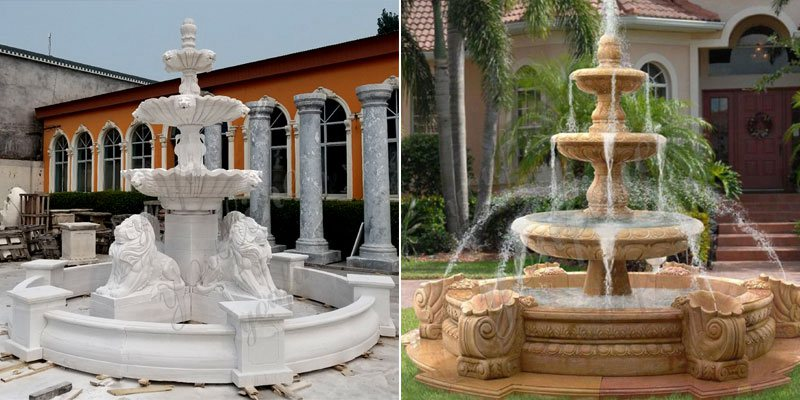 Tiered Large Outdoor Marble Lady Fountain with Child Design for Sale More Designs
