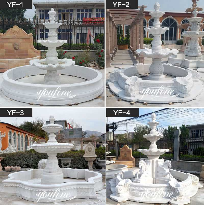 Outdoor Carved White Marble Small Water Fountain Home Decor for Sale MOKK-95