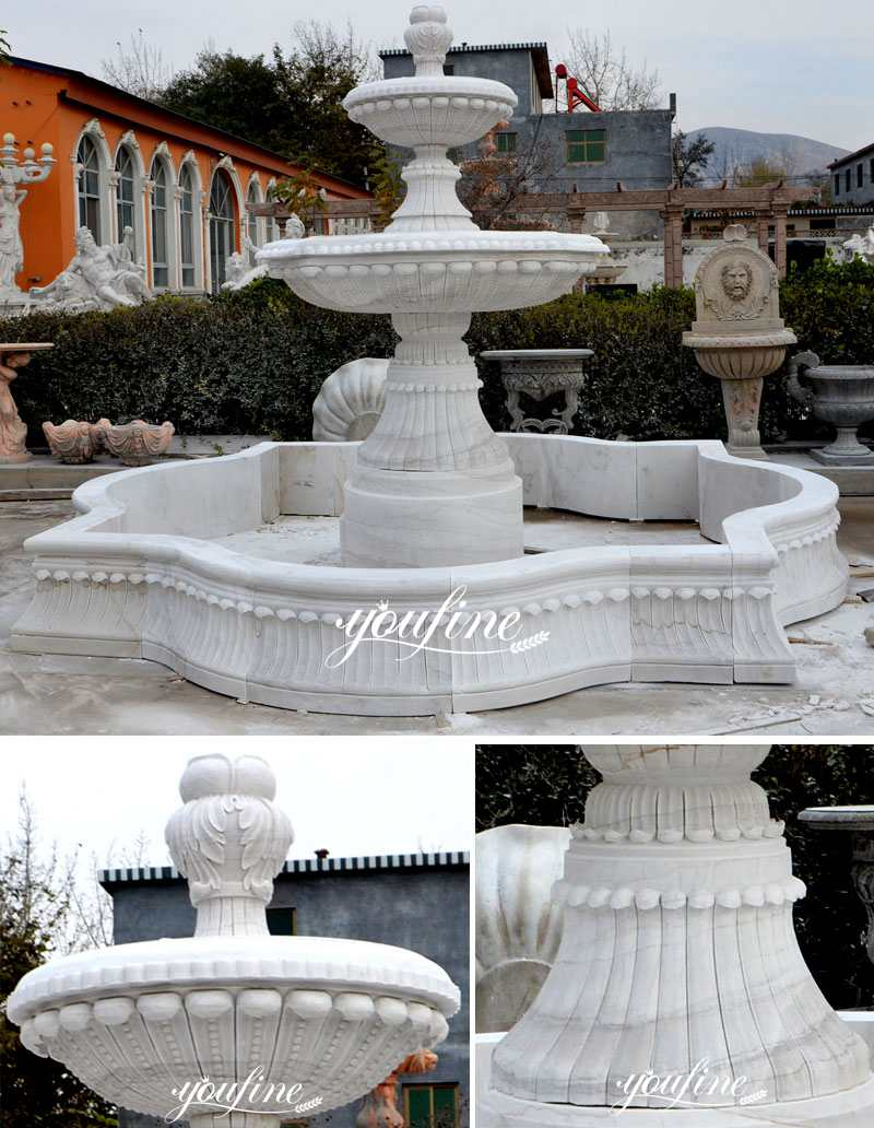 Outdoor Carved White Marble Small Water Fountain Home Decor for Sale MOKK-95 Details