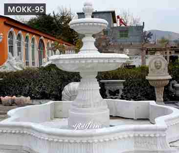 Outdoor pure white marble garden fountain small 2 tiered water fountain for backyard decor for sale--MOKK-95_