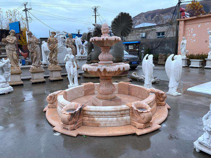 Cheap Sunset Red Marble Fountain Factory Supply MF-04