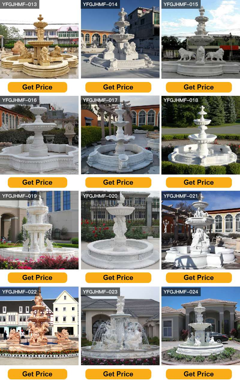 Three Tiered Antique Marble Lion Fountain for Sale MOKK-57