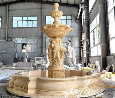 Natural Egyptian Beige Marble Fountain for Sale MOKK-866